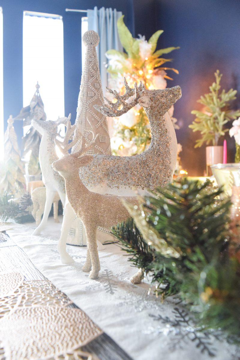 gold reindeer christmas table decor