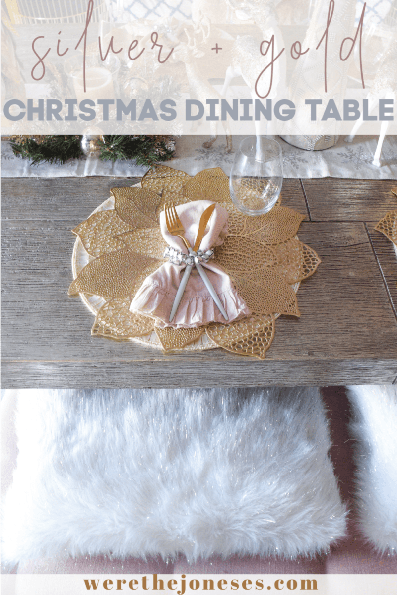 silver dining table with gold poinsettia placemat