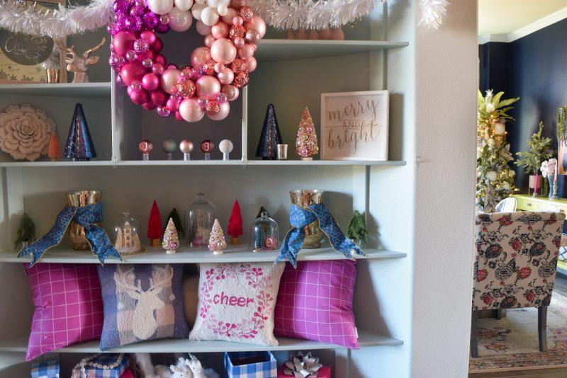 pink and blue christmas decor and pink christmas wreath