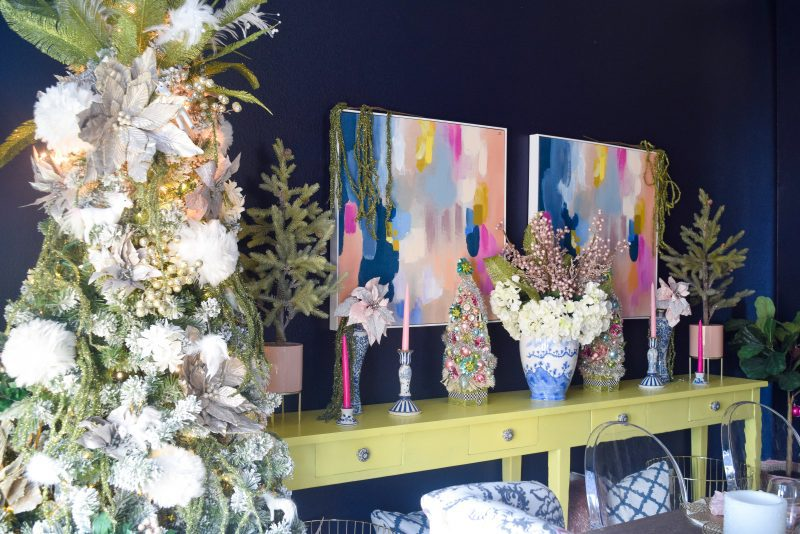 merry and bright christmas decor in dining room