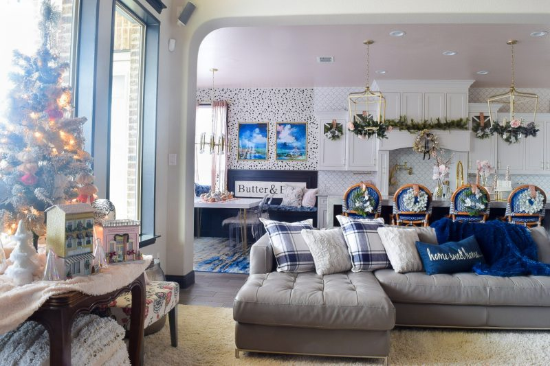 modern kitchen and living room holiday decorations
