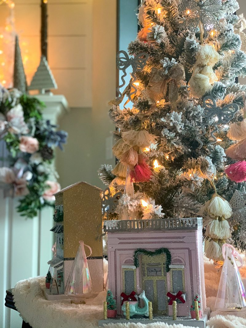 christmas paper light up houses in living room
