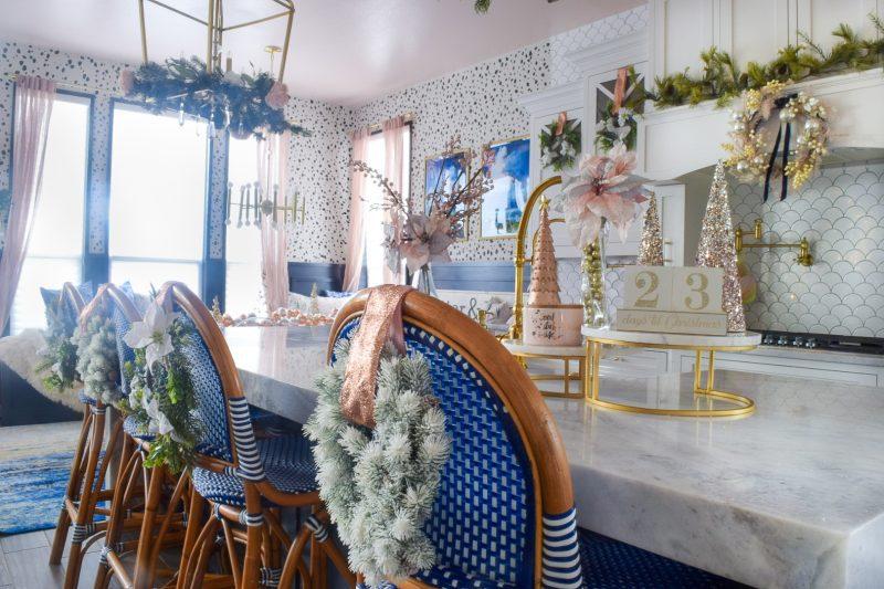 modern coastal kitchen with blush pink rose gold christmas decorations