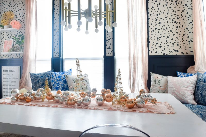 breakfast nook with christmas decor on the table