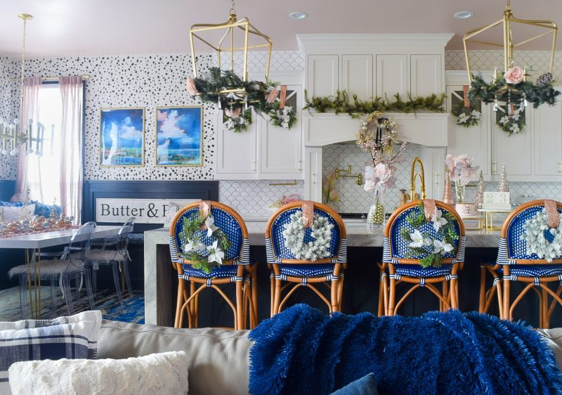 white and blue and pink kitchen with holiday decor
