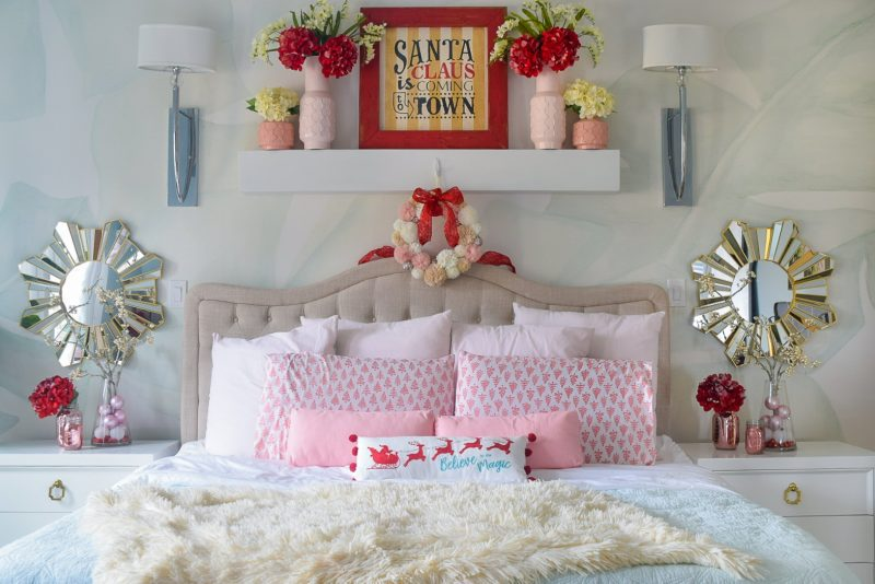 christmas bedroom decorated in red pink and mint green