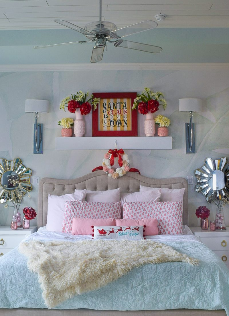 red blush pink and mint green christmas decorations in master bedroom