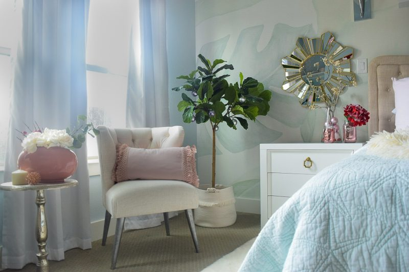 coastal bedroom with holiday decorations