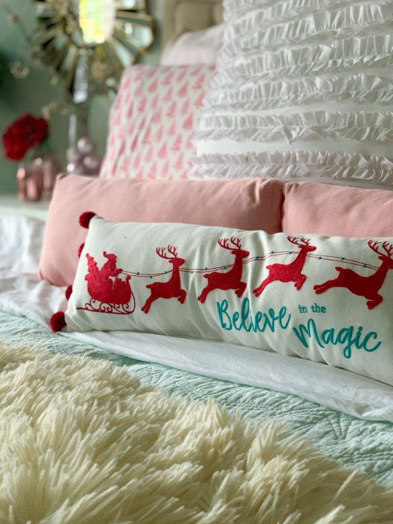 red blush pink and mint green christmas bedroom