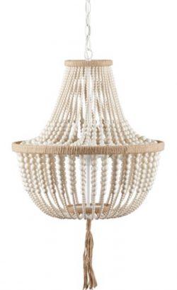 Safavieh Lighting Kristi 3-light Cream Adjustable Beaded Chandelier - Beach House Lighting
