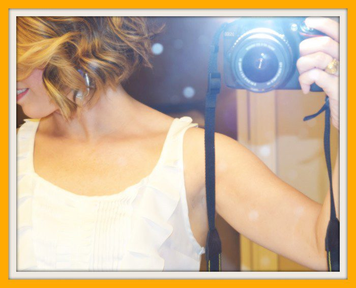 blond haircut with camera