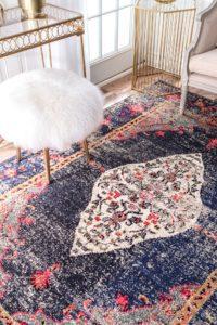 Vintage Navy and Pink Medallion Rug Kitchen Rug Kitchen Runner Best Modern Rugs Home Decor Refresh