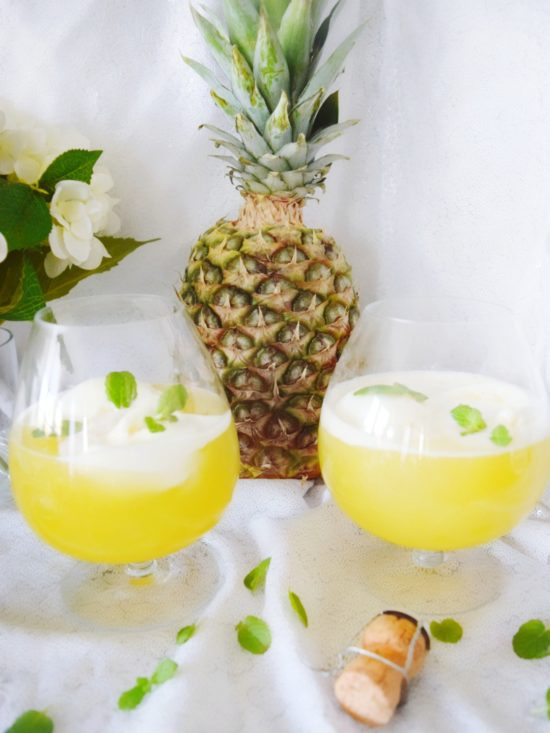 Pineapple Orange Sorbet Mimosas Best. Mimosas. Ever. Easy Cocktail Recipes for Mother's Day Brunch