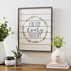 Enjoy Every Moment Shiplap Framed Wall Plaque