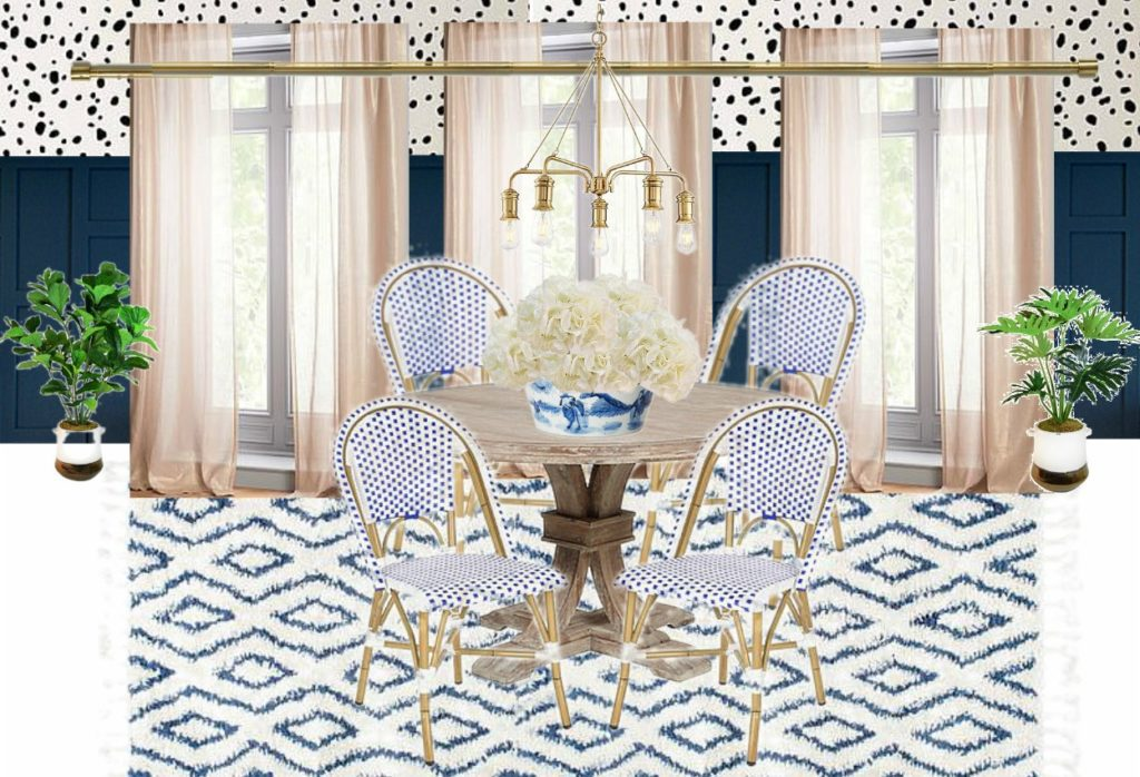 Modern Breakfast Nook Makeover Ideas Dalmation dot stencils navy wainscoting woven bistro chairs modern coastal decor ideas