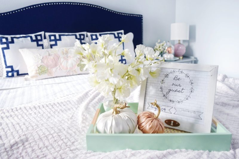 guestroom decor be our guest wifi password frame fall decor seasonal decor navy headboard pink fall decor colorful decor fall colors seasonal fall decor