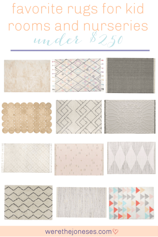 I've rounded up my favorite rugs for kid rooms, playrooms and nurseries. These gender neutral rug options are affordable and versatile for shared boy and girl bedrooms, playrooms or gender neutral nurseries