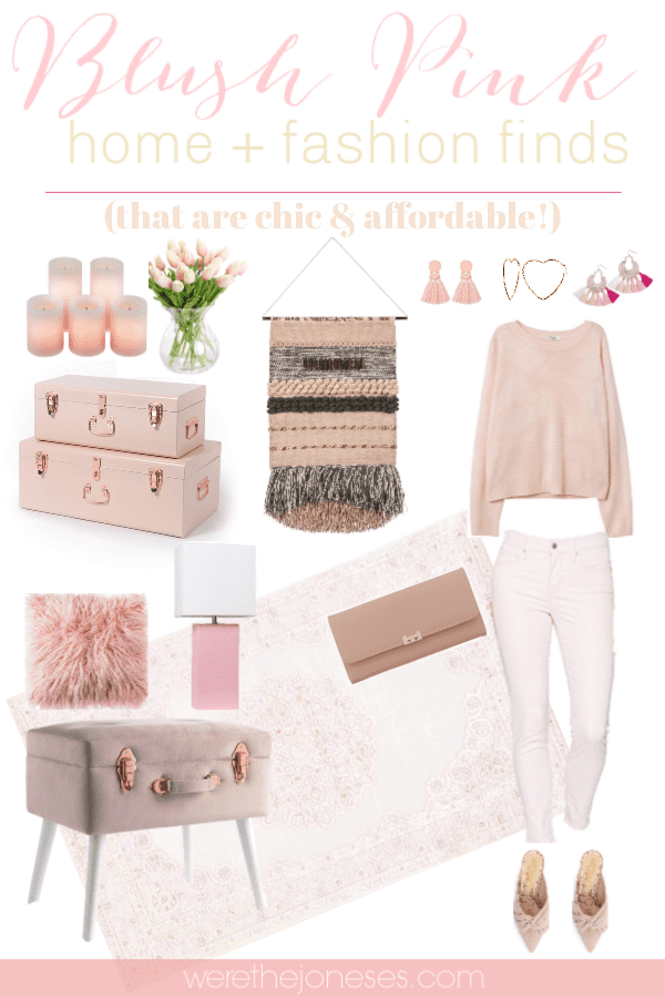 My favorite 2019 interior decor trend and fashion trend are blush pink home decor & blush pink fashion accessories! I've gathered chic and affordable blush pink home + fashion finds from Amazon