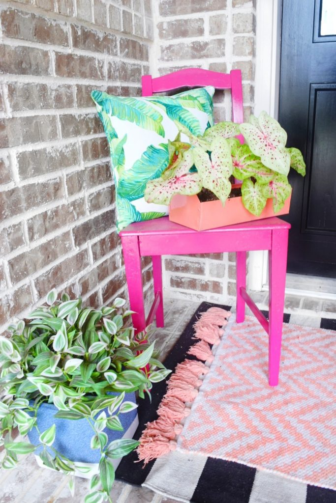 pink chair plants and rug on front patio