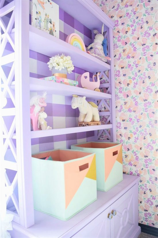 light purple sherwin williams wisteriapainted bookshelf with DIY painted buffalo check and caitlin wilson peony floral wallpaper