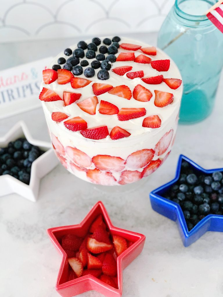 Easy July 4th Recipes with Blueberry Strawberry Trifle Dessert