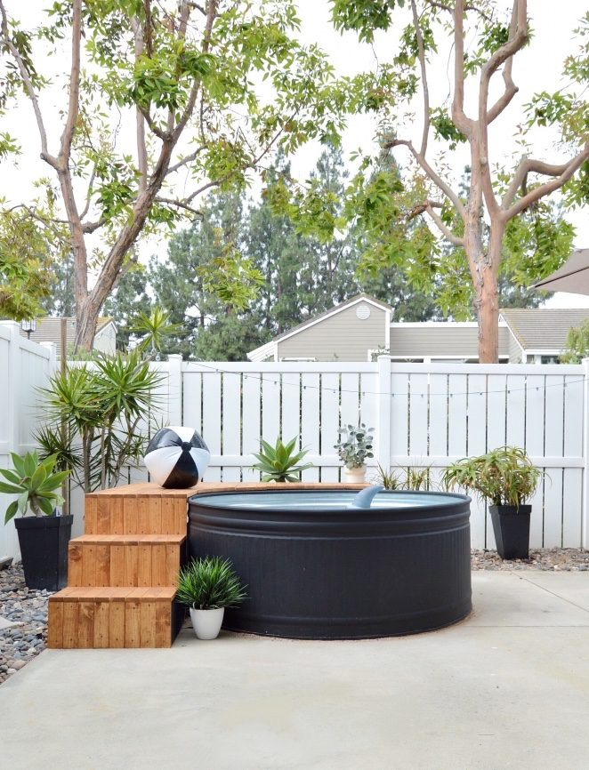 Emerson Grey Designs Stock Tank Pool Painted Black and DIY Steps