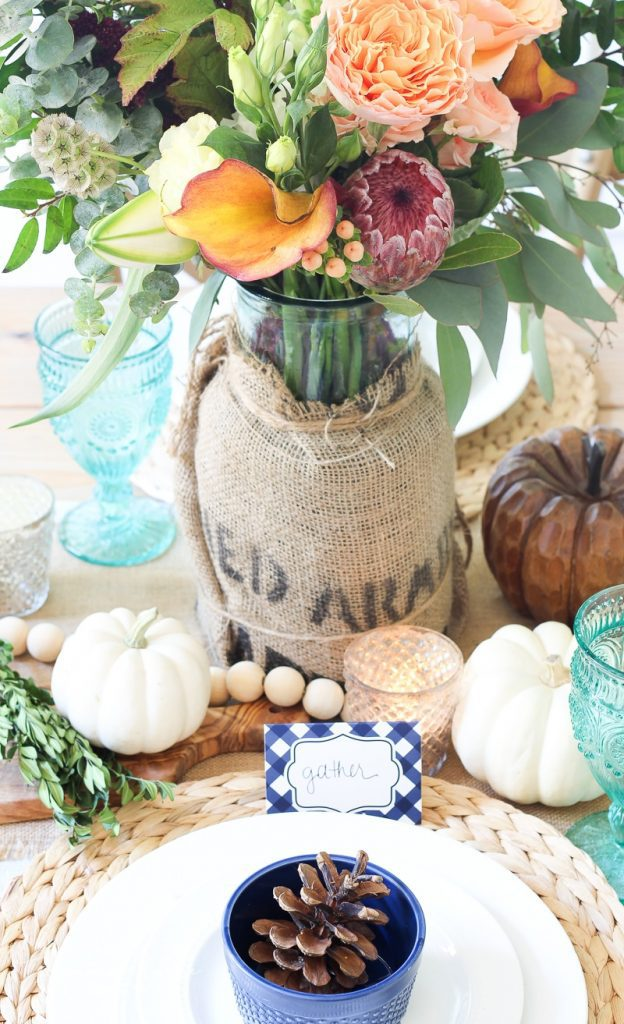 Farmgirl flowers fall centerpiece ideas for your fall table decor | The Turquoise Home