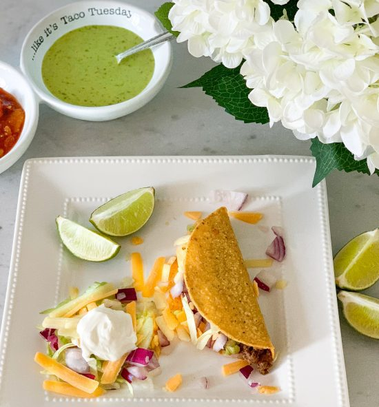 easy ground beef tacos seasoned with homemade taco seasoning