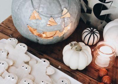 galvanized pumpkin and halloween ghost cookies