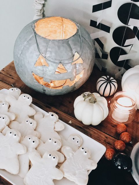 galvanized pumpkin and halloween ghost cookies