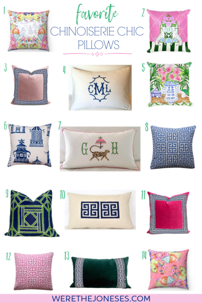 chinoiserie chic pillows with greek key pattern, pagodas, jaguars, monograms, and bright preppy colors