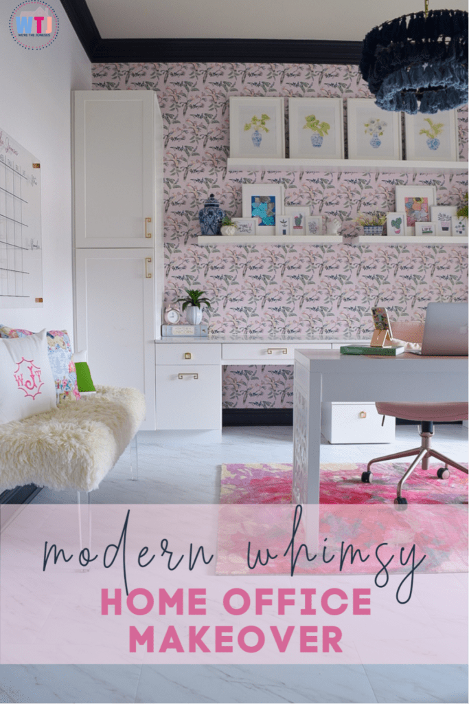 home office makeover - turning a dark traditional office into feminine and bright whimsy!
