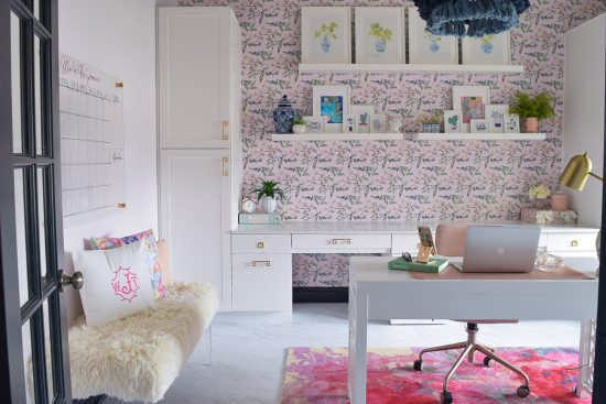 home office design with pink rug pink wallpaper white modern desk