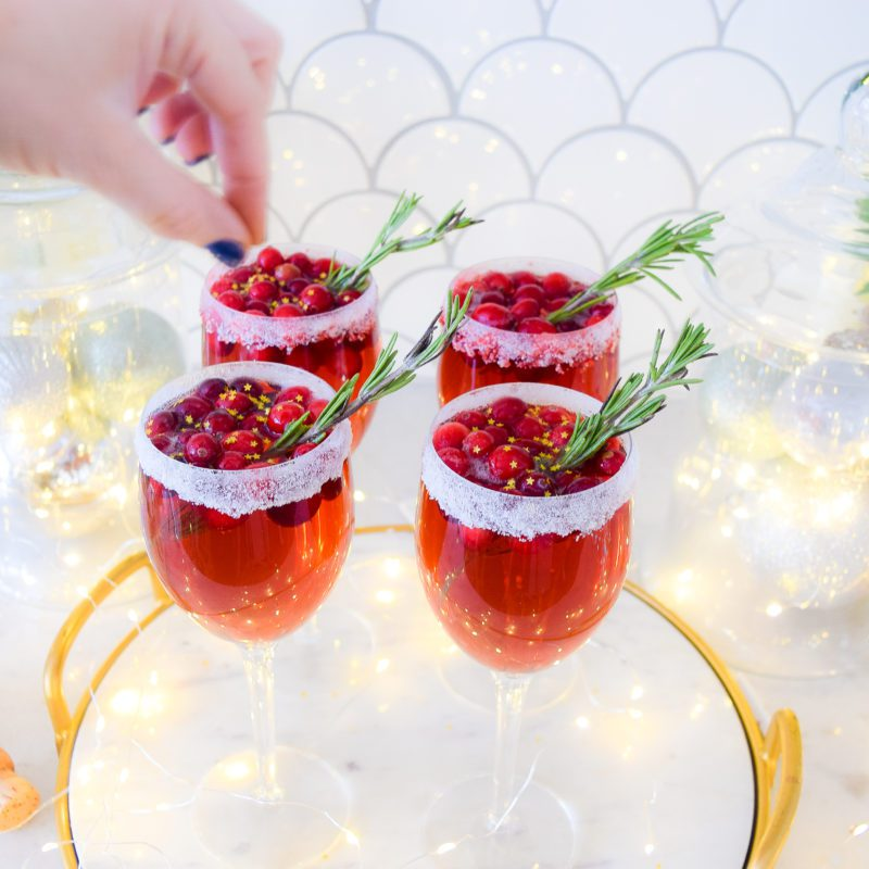holiday drinks cranberry champagne cocktail recipe