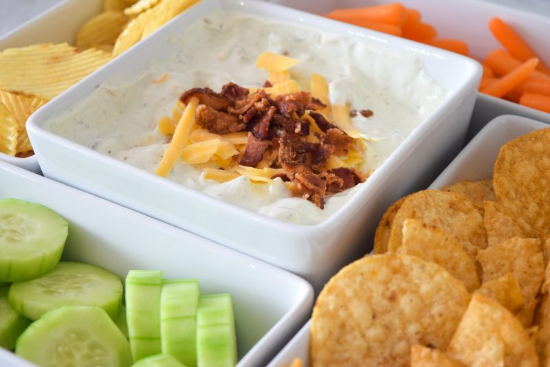 loaded bacon ranch dip easy appetizers for a crowd