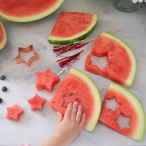 star shaped watermelon for fruit skewers