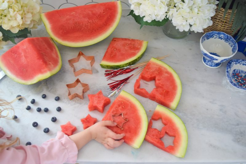 star shaped watermelon for patriotic fruit skewers