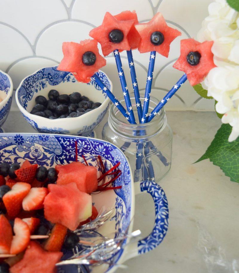 patriotic fruit kabobs watermelon star sparklers