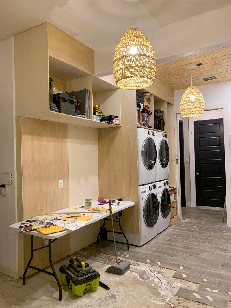 builtin laundry room cabinets