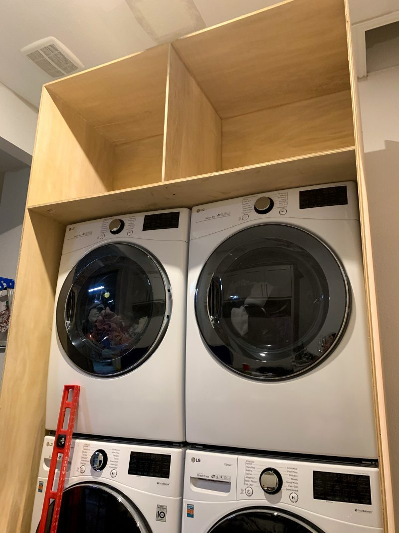 DIY cabinets in laundry room
