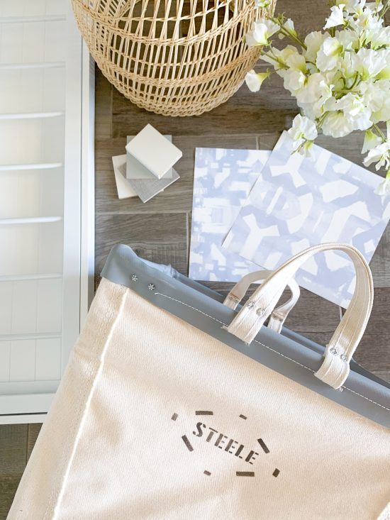 one room challenge flatlay design for master closet and laundry room