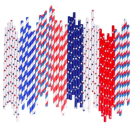 4th of July Paper Straws Bulk Biodegradable Disposable Drinking Blue Red White Striped Wave Star ...