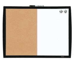"Combination Magnetic Whiteboard & Corkboard, 17"" x 23"", Combo White Board & Cork Board"