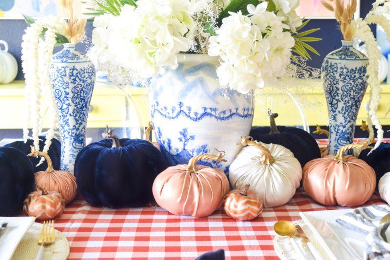 Orange and blue autumn table setting