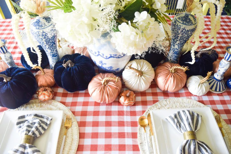 Chinoiserie chic blue and orange fall tablescape