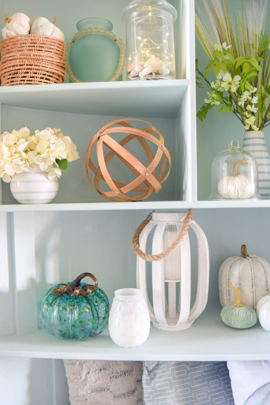 Coastal blue and white fall decorating ideas