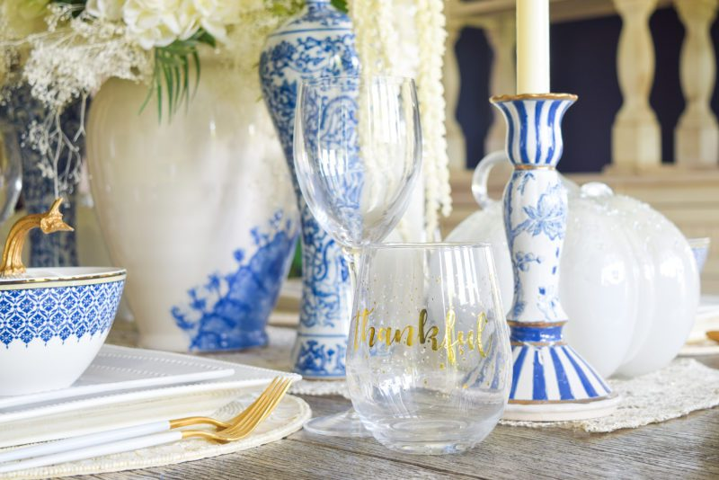 Classic blue and white table