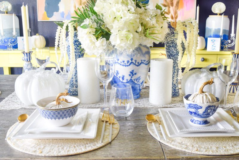 Classic blue and white fall table decor