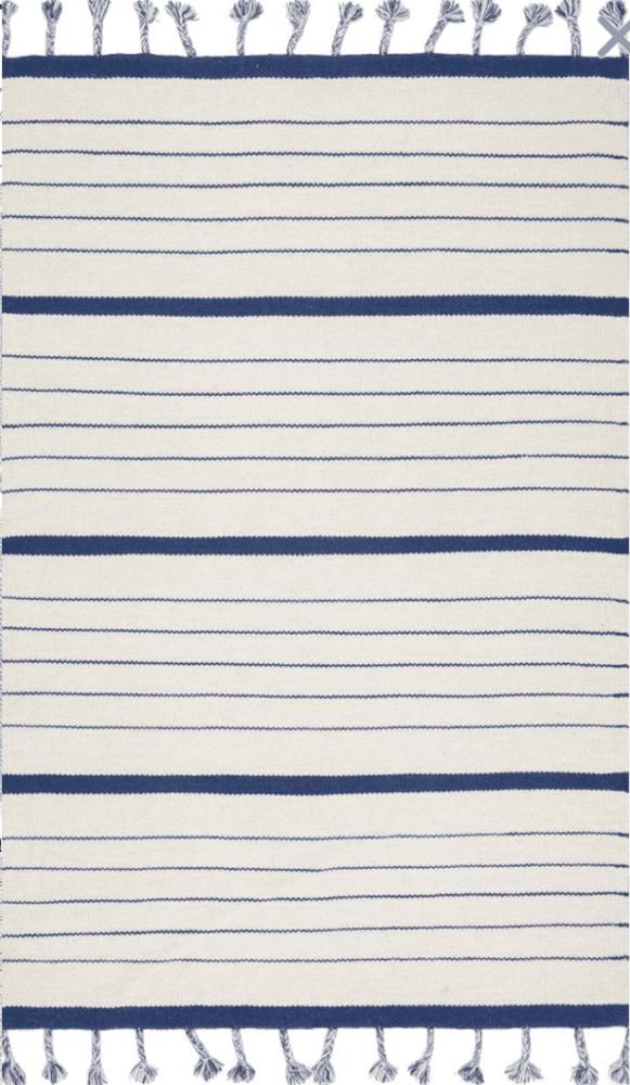 blue pinstripe tassel farmhouse rug