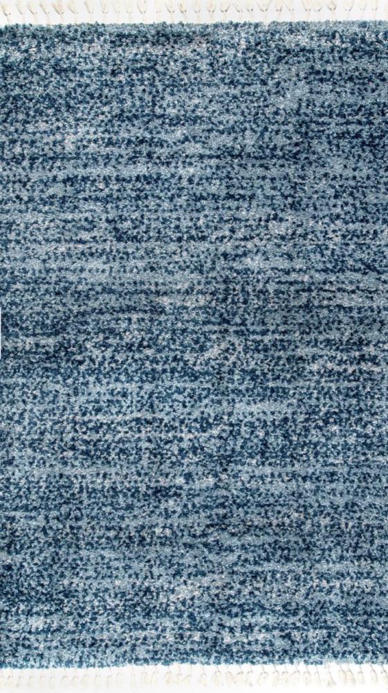 blue shag tassel rug